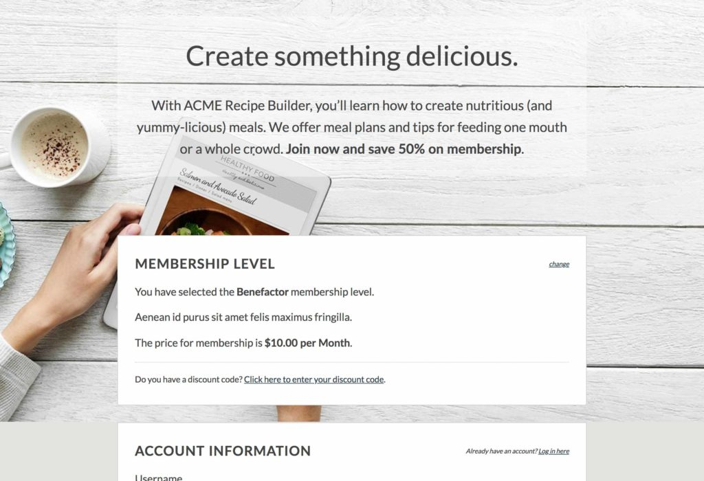 Sample landing page using the Scroll template